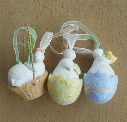 Pastel Easter Bunny Ornaments Set of 3 New from Midwest