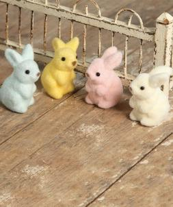 Bethany Lowe Pastel Fuzzy Easter Bunny Rabbits Set of 4 Pink