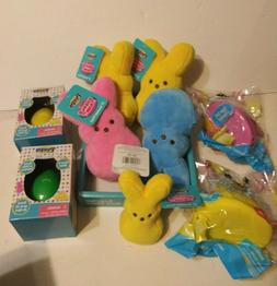 Peeps Toy LOT Plush Stuffed BLUE YELLOW PINK  Easter Bunny S