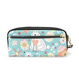 ColourLife Pencil Case Floral Easter Bunny Leather Pouch Bag