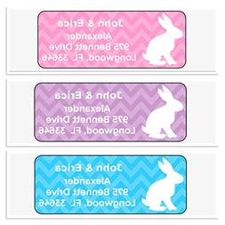 Personalized Address Labels, Easter Bunny Chevron Set Of 30,
