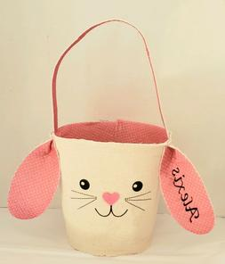 Personalized Easter basket Rabbit Bunny Ears EMBROIDERY EMBR