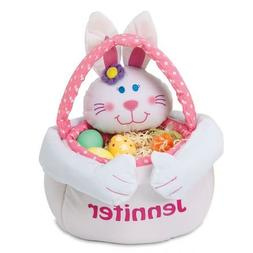"""Personalized Plush Girl Easter Bunny Basket Tote - 14"""" H"""