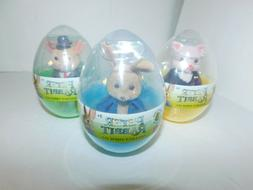 Peter Rabbit Flocked Figures in Eggs Bunny Pig Mouse Set of