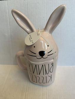 Rae Dunn PINK BUNNY KISSES Easter Mug with Bunny Ear Topper