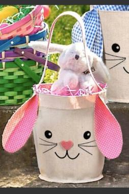 Pink Easter Basket Rabbit Bunny Ears NEW Free Shipping