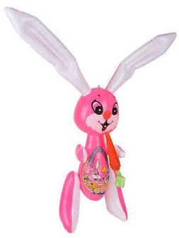 """Large 48"""" Pink Inflatable Easter Bunny Rabbit With Carrot To"""