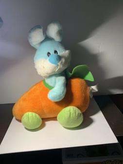 Plush Animal Easter Bunny Blue Rabbit Riding In Carrot Car U