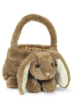 Bearington Plush Bunny Rabbit Kids Easter Egg Basket, Brown