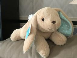 Plush Easter Bunny Rabbit Tan Teal/ Aqua Ears  10 Inch soft