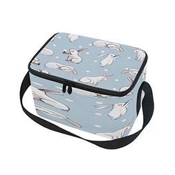ALAZA Polka Dot Rabbit Bunny Retro Insulated Lunch Bag Tote