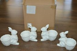 Pottery Barn Set of 4 Easter Bunny Rabbit Basket Egg Cups Wh