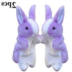 Coxeer Rabbit Plush Puppet, 2PCS Animal Toys Cute Rabbit Han