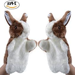 Coxeer Rabbit Plush Puppet, 2Pcs Animal Toys Cute Rabbit Han