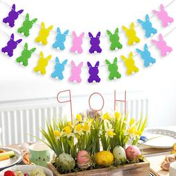 BESTOYARD Rabbit Shape Easter Banner Bunny Decoration for Pa