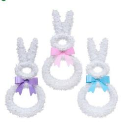 Easter Rabbit Wall Tinsel Hanging Decoration White Bunny wit
