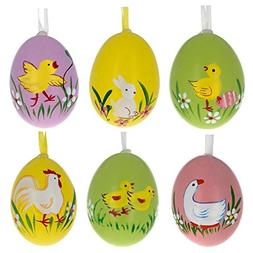 Set of 6 Real Eggshell Bunny, Chick and Goose Easter Egg Orn