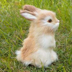 Realistic Rabbit Handmade Easter Bunny Fur Animal Figurine H
