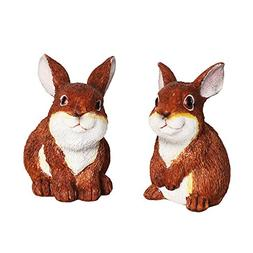 Set of 2 Resin Bunny Easter Decoration Bunnies Ornament East
