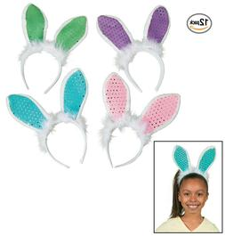 Sequin Easter Bunny Ears Headbands  Pastel Colors