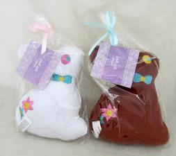 Set of 2 Easter Bunny Brown & White Rabbit Pet Dog Toy Plush
