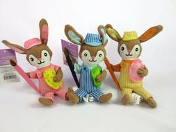 Set of 3 Easter Bunny Rabbit Soft Figurines Shelf Sitters Eg