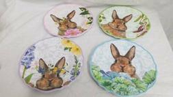 Set of 4 Easter Bunny Pastel Spring Melamine Salad Plates