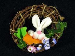 "Set of 8 Easter Bunny Mini Grapevine Wreath 6"" Basket Stuffe"