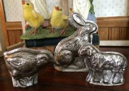 SET Tin Style Easter Bunny Rabbit Lamb Sheep Chick Resin Cho