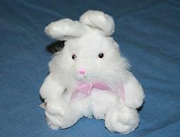"Homerbest Small White Plush EASTER BUNNY RABBIT 8"" Pink Eye"