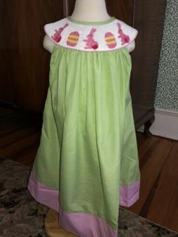 Smocked Easter Bunny Egg Gingham Dress ~ Size 6 Boutique New