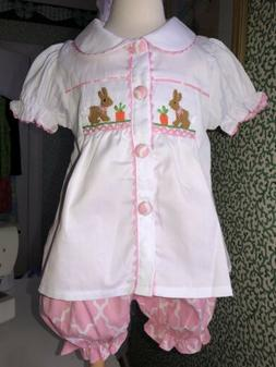 Smocked Easter Bunny Gingham Set ~ Size 6 Boutique New