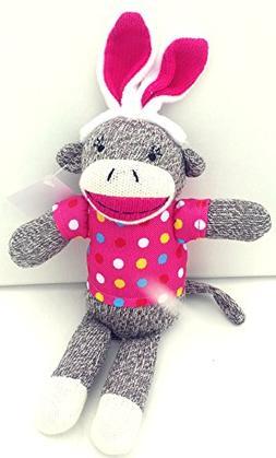 Dan Dee Sock Monkey Bunny ~ Girl Pink