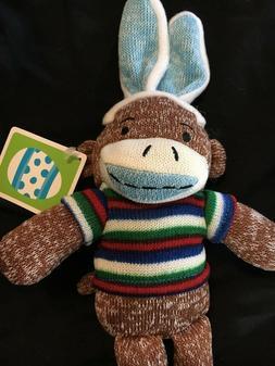 Dan Dee Sock Monkey Easter Bunny Blue Ears Blue Striped Shir