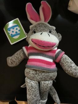 Dan Dee Sock Monkey Easter Bunny Pink Ears Pink Striped Shir