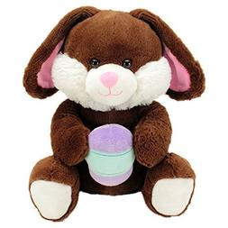 Soft and Cuddly Stuffed Betcha Bunny with Easter Egg - Brown