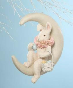 Bethany Lowe Spring  Decor Easter Bunny on Moon Paper Mache/
