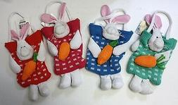 SPRING TIME HAPPY EASTER BUNNY KNIT GOODY BAG HAND SEWN CUTE
