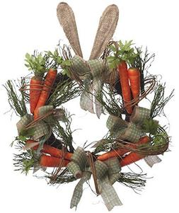 22 Inch Spring Wreath with Carrots, Ribbon, & Easter Bunny E