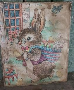 SUPER SWEET VINTAGE EASTER BUNNY WITH BASKET OF EGGS AND CHI