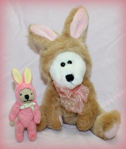 TEDDY BEAR LOT OF 2 BOTH WITH EASTER BUNNY COSTUMES 11 1/2""