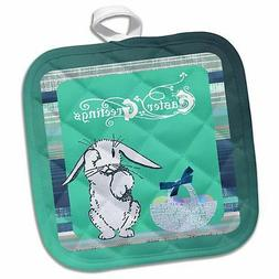 3dRose Tired Easter Bunny Rabbit with Basket of Eggs, Green