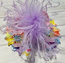 "6"" Pastel Color Easter Bunny Over The Top Feather Hair Bow"