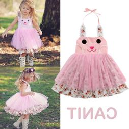 US Infant Baby Girls Easter 3D Bunny Dress Party Outfit Prin