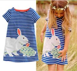 US Easter Toddler Kids Baby Girl Cartoon Bunny Dress Stripe