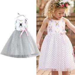 US Stock Kids Baby Girls Easter Bunny Princess Pageant Gown