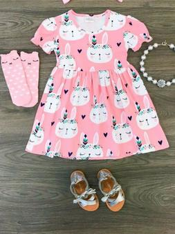 US Stock Toddler Baby Girl Tutu Sundress Easter Cartoon Bunn