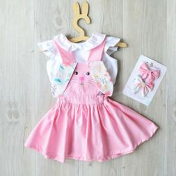 US Toddler Kid Baby Girls Easter Bunny Dress Floral Ears Str