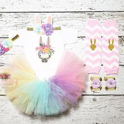 USA Cute Newborn Baby Girls Easter Bunny Romper Tutu Rainbow