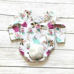 USA Easter Newborn Baby Girls Bunny Romper Jumpsuit Bodysuit